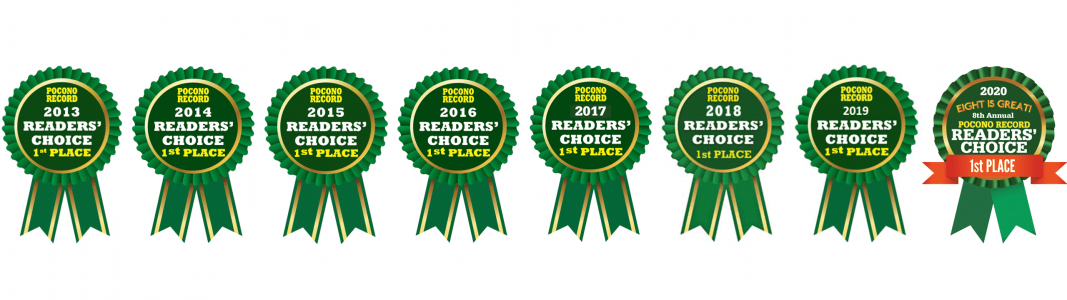 banner of eight Pocono Record Readers' Choice 1st place ribbons