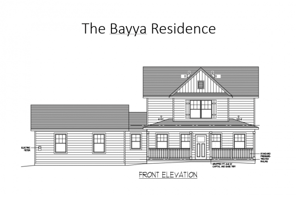Drawing of front elevation for new home