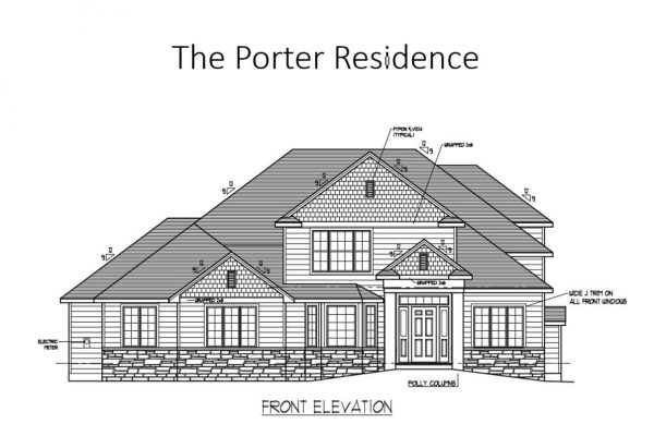 Exterior front elevation drawing of new home