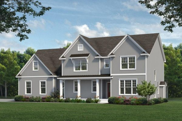 Rendering of Snydersville home with gray siding