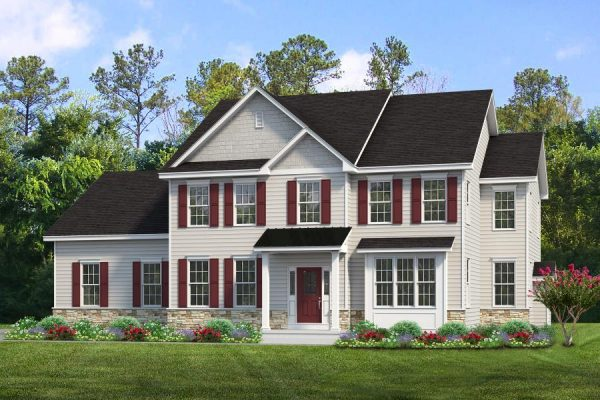 Yardley front elevation rendering with light tan siding and burgundy shutters, black roof