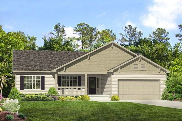Rendering of Lexington ranch home with garage